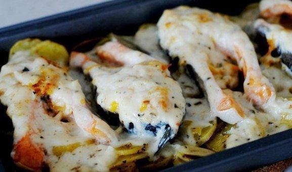 Форель в духовке с картофелем и грибами рецепт