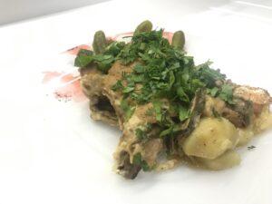 Форель в духовке с картофелем и грибами